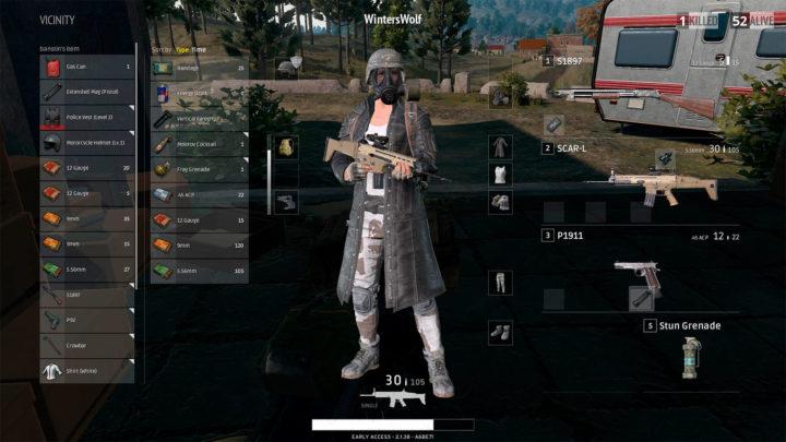 Выбор оружия в инвентаре