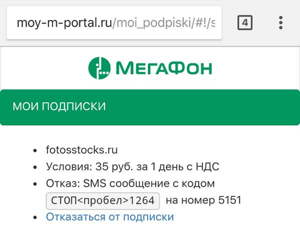 Информация о подключенной подписке