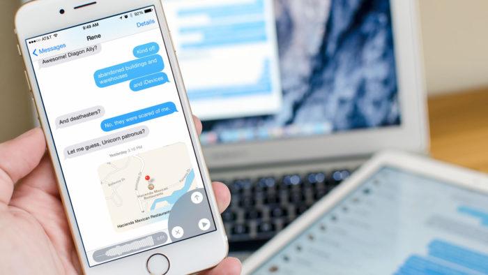 Общение в мессенджере с телефона
