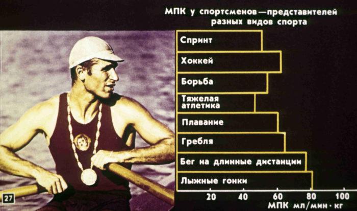 МПК у представителей различных видов спорта