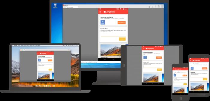 AnyDesk может использоваться на различных устройствах