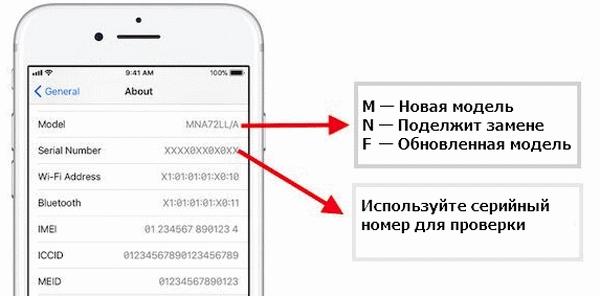 Указание модели в настройках телефона