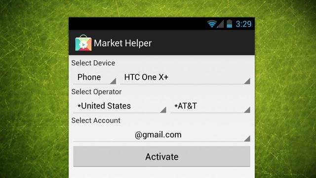 Изменение модели смартфона в Market Helper