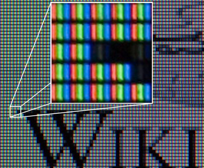 Пиксели на матрице монитора