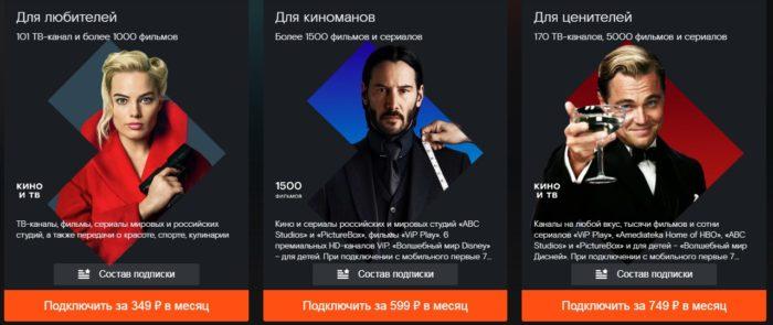 Варианты подписок Wink TV
