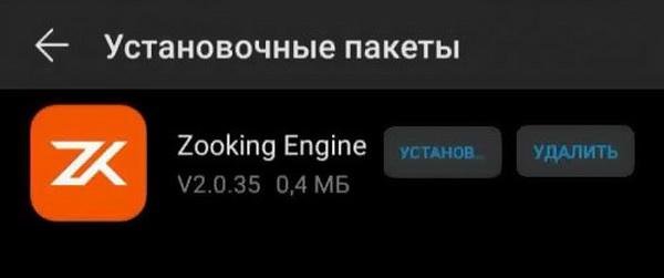 Zooking Engine обычно входит в установочные пакеты других программ